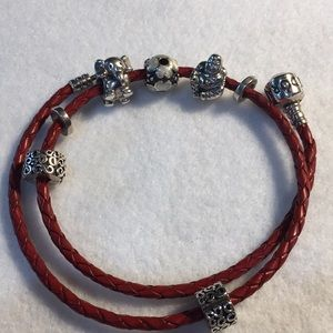 Red Leather Pandora bracelet with beads